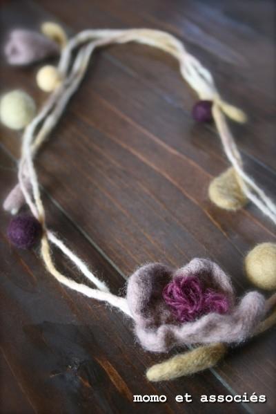 hana 首飾り 淡紫&サロー